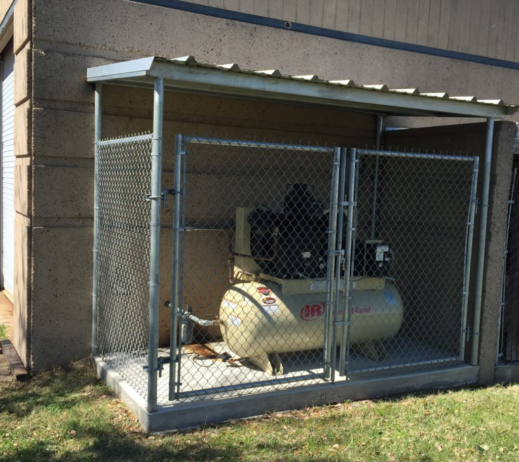 Air Compressor Shelter : Concrete pad with fencing canopy cover air cleaning